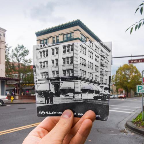 Old photo meets new photo of vancouver washington