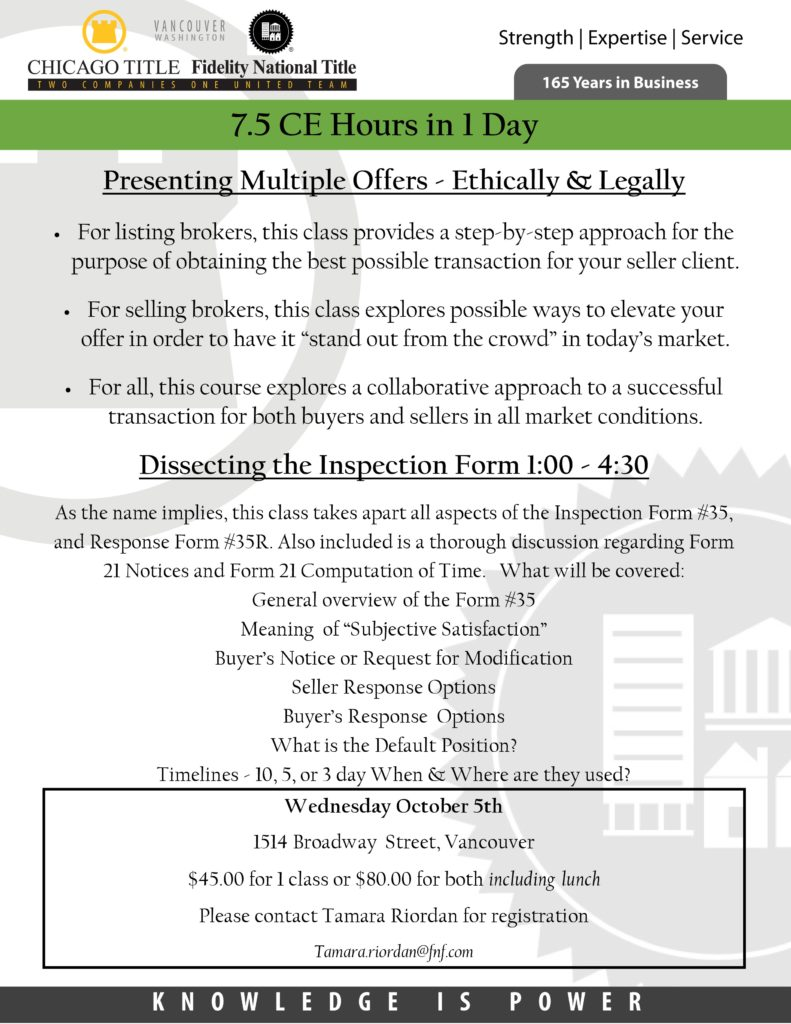 Presenting Multiple Offers ~ Ethically & Legally @ CCAR Conference Room | Vancouver | Washington | United States