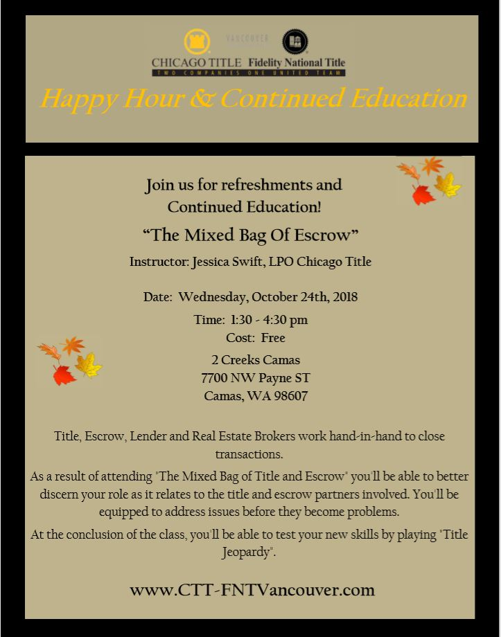 Happy Hour & Continued Education: The Mixed Bag of Escrow - CCAR